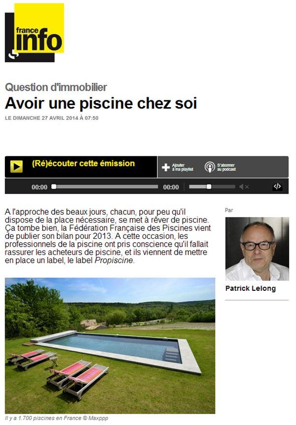 France Info / Question d'immobilier par Patrick Lelong