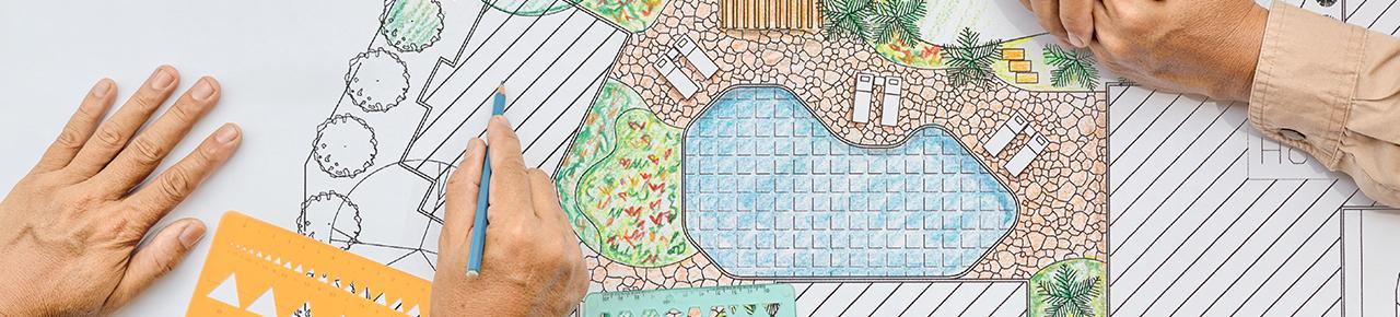 dessin présentant une maquette de maison, jardin et piscine