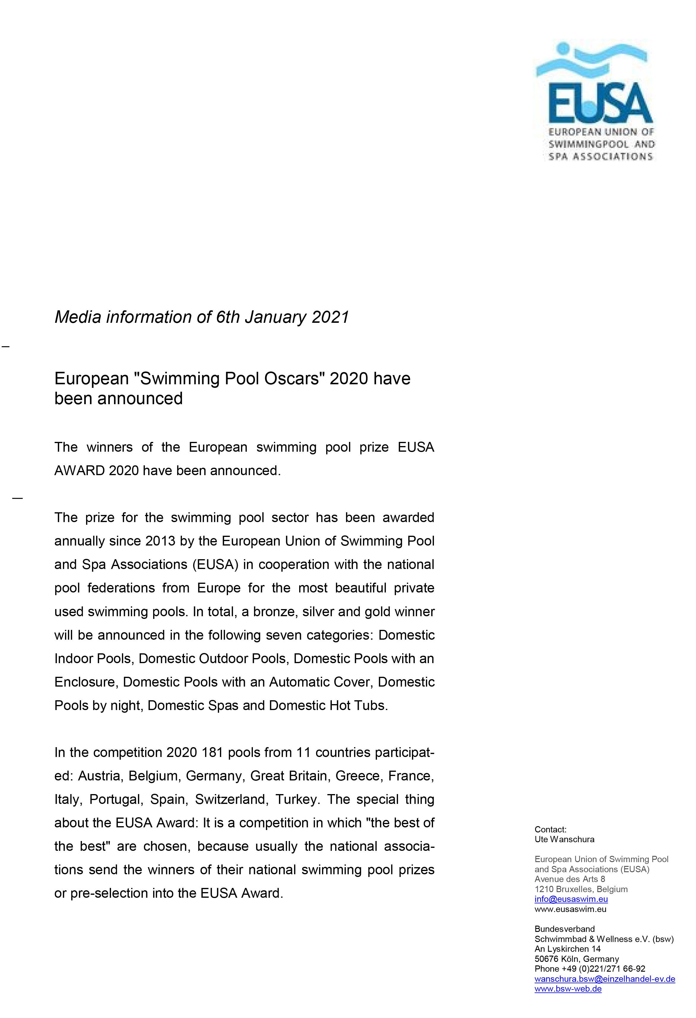 première page du communiqué de presse relatif aux EUSA AWARDS