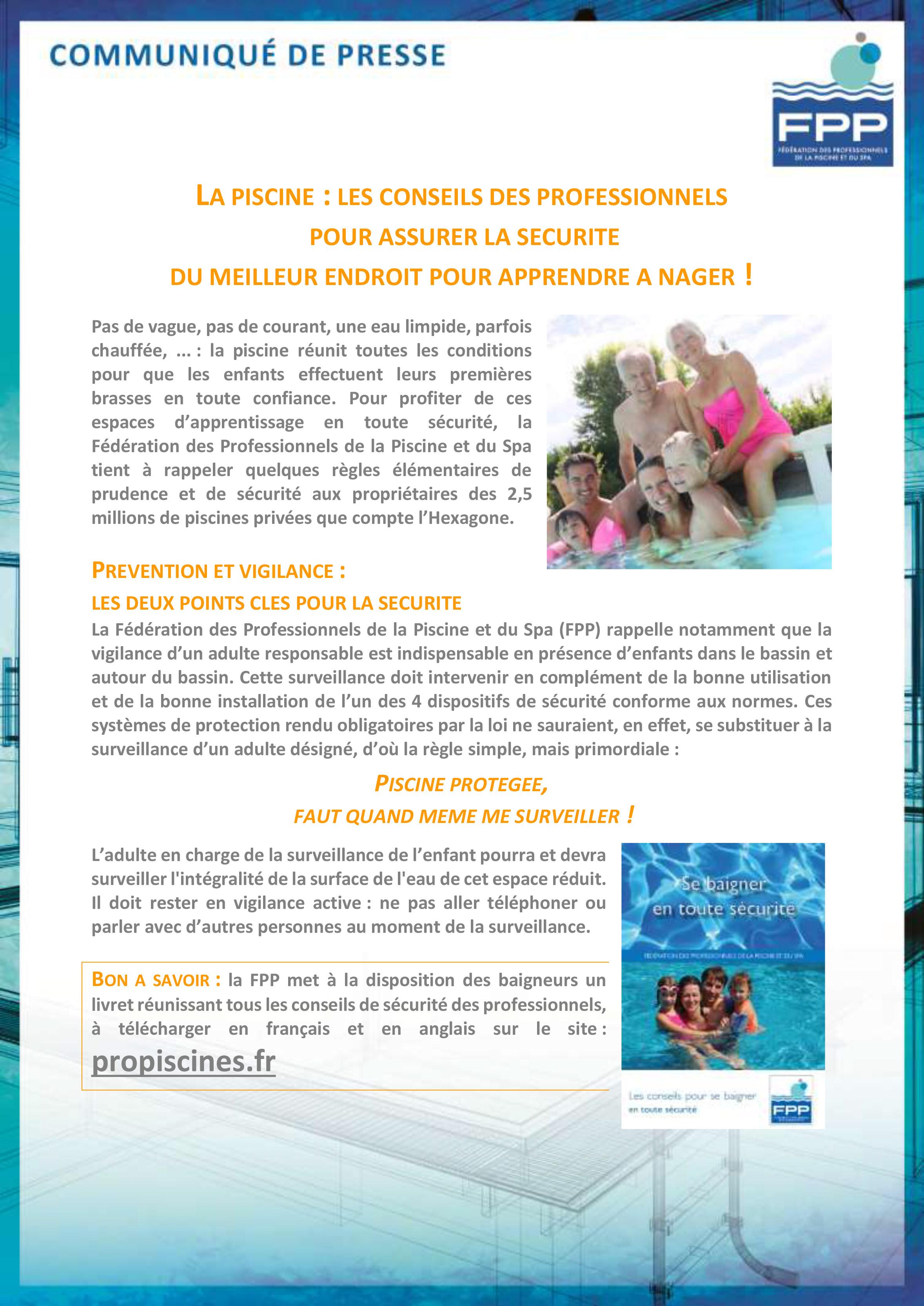 Première page du communiqué de presse de la FPP sur la sécurité des piscines