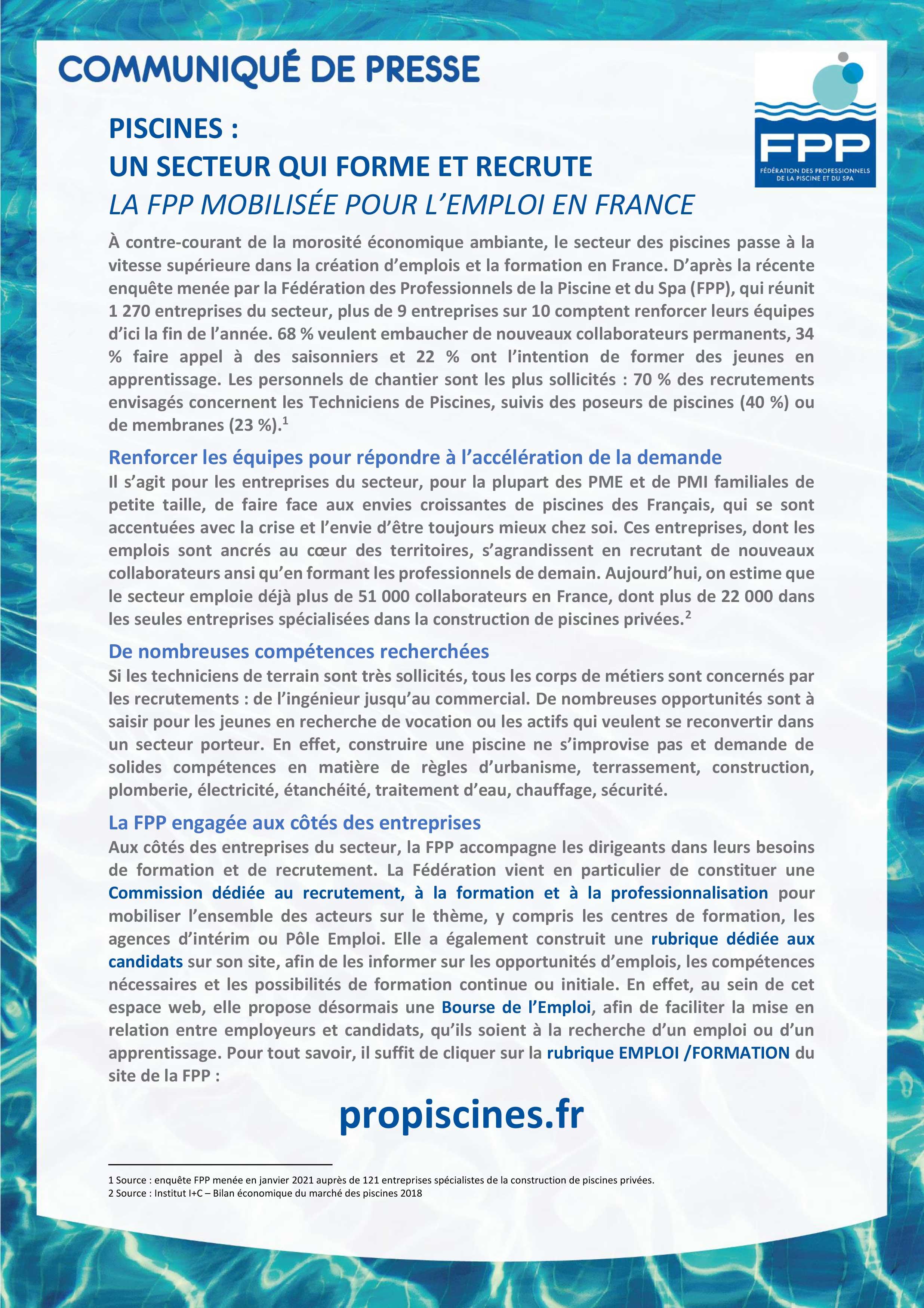 première page du communiqué de presse de la FPP sur l'emploi