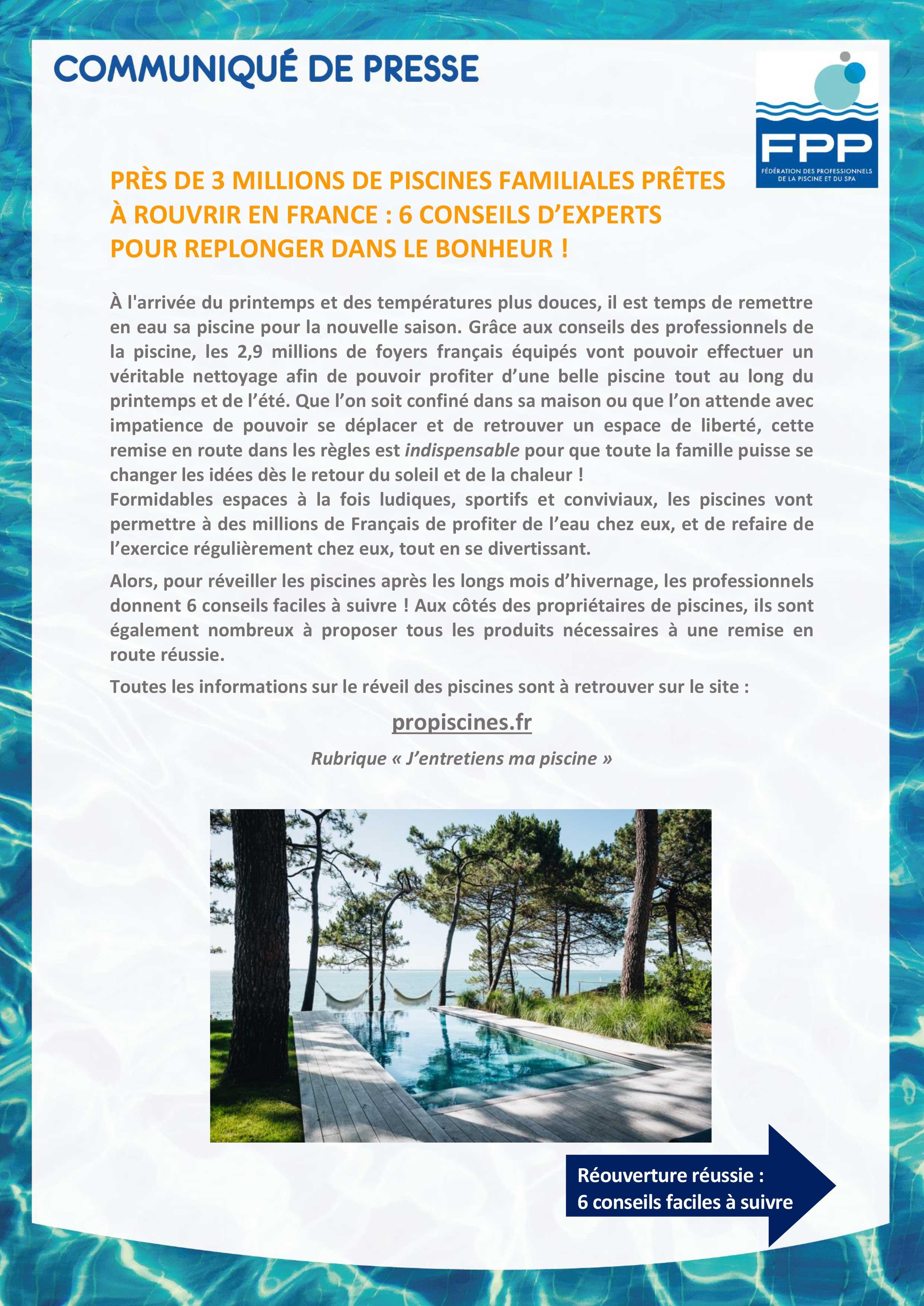 première page du communiqué de presse de la FPP sur le réveil de la piscine 2021