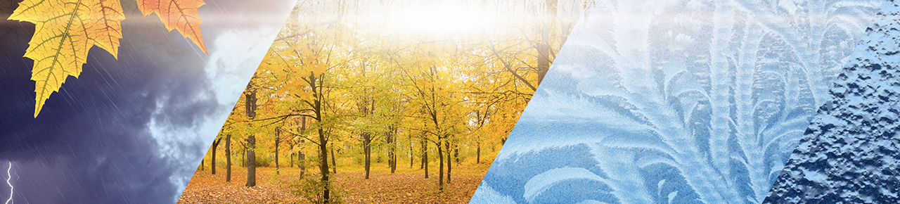 Montage photo avec des visuels représentant les 4 saisons et illustrant les opérations à faire lors des changements climatiques avec une piscine