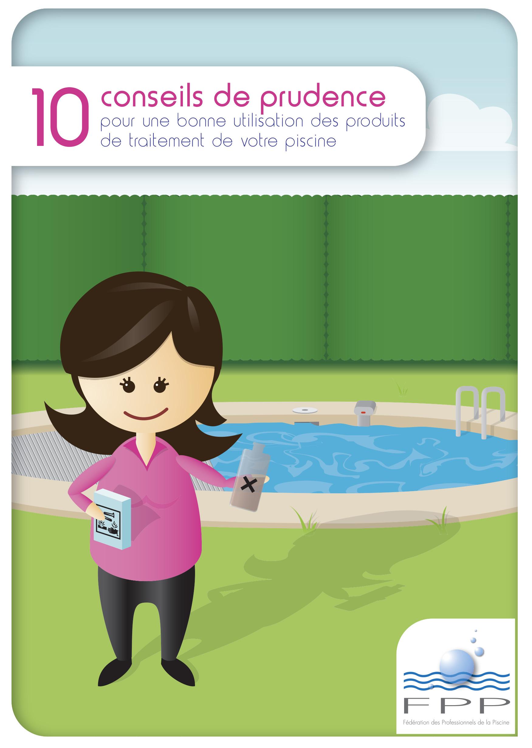 Dessin avec une petit fille devant une piscine servant d'illustration au guide sur la bonne utilisation des produits d'entretien