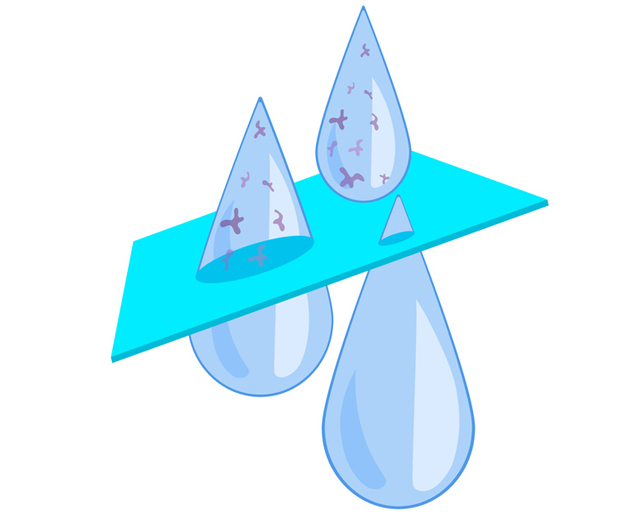 Ilustration représentant une goutte d'eau non filtrée qui passe dans le système de filtration pour redevenir propre et débarassée des impuretés