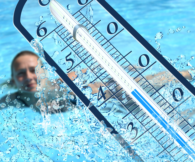 thermomètre avec une piscine en fond et illustrant le texte sur la température idéale pour mettre sa piscine en hivernage