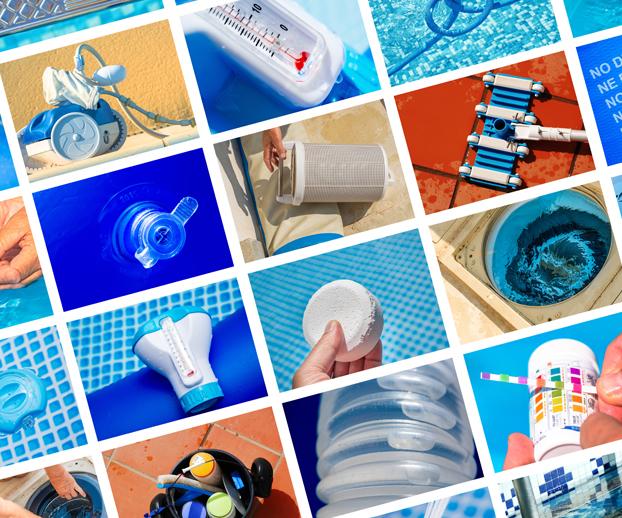 Mosaîque des différents systèmes et produits de traitement de l'eau d'une piscine