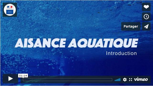 Premiere page du clip aisance aquatique réalisée par le Ministère des sports en 2018