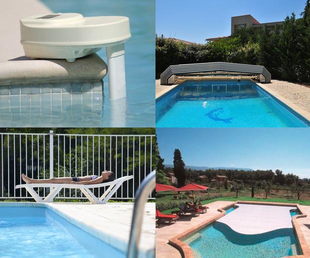 Montage photo avec les 4 dispositifs de sécurité pour les piscines à savoir abri, alarme, barrière et couverture