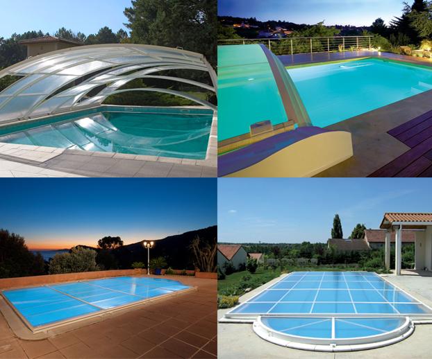 Montage photo avec les 4 types d'abris de piscine bas amovibles