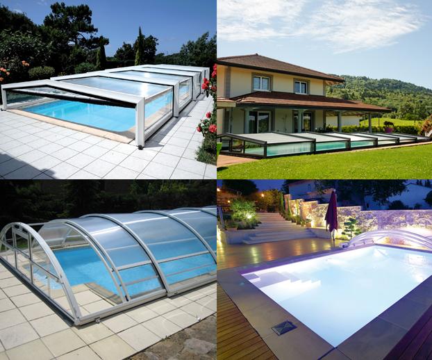 Montage photo avec les 4 types d'abris de piscine bas télescopiques