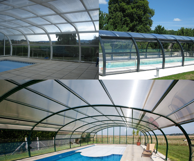 Montage photo avec 3  types d'abris de piscine fixes hauts