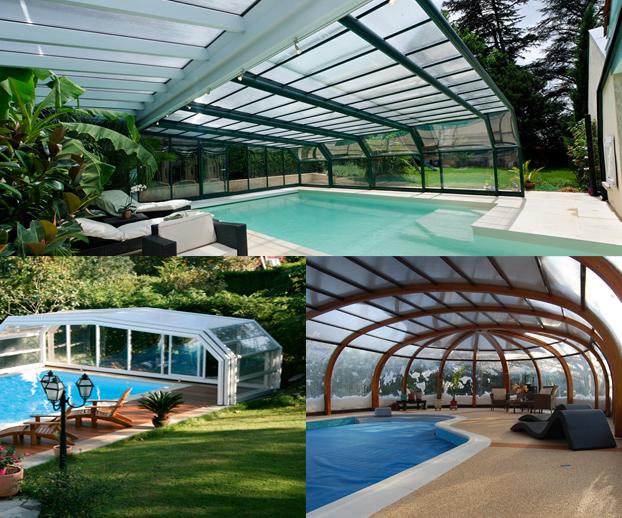 Montage photo avec 3  types d'abris de piscine télescopiques hauts