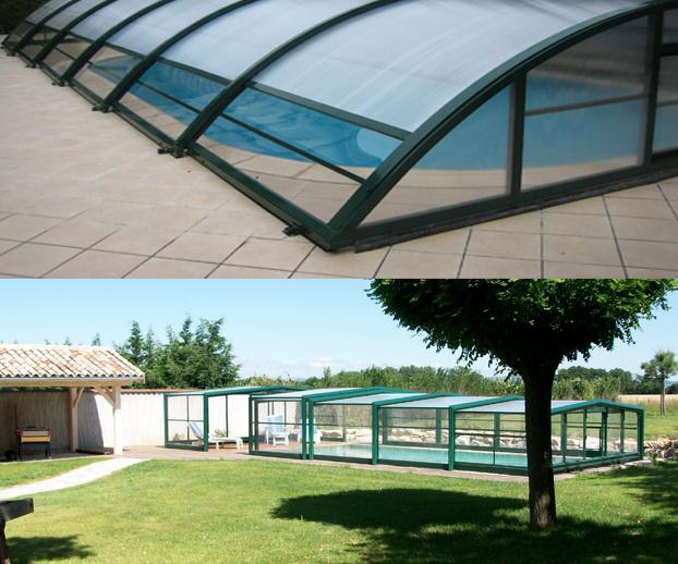 Montage photo avec 2  types d'abris de piscine mi-hautes télescopiques