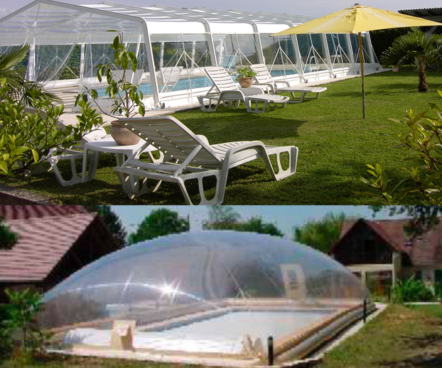 Montage photo avec 2  types d'abris de piscine souples