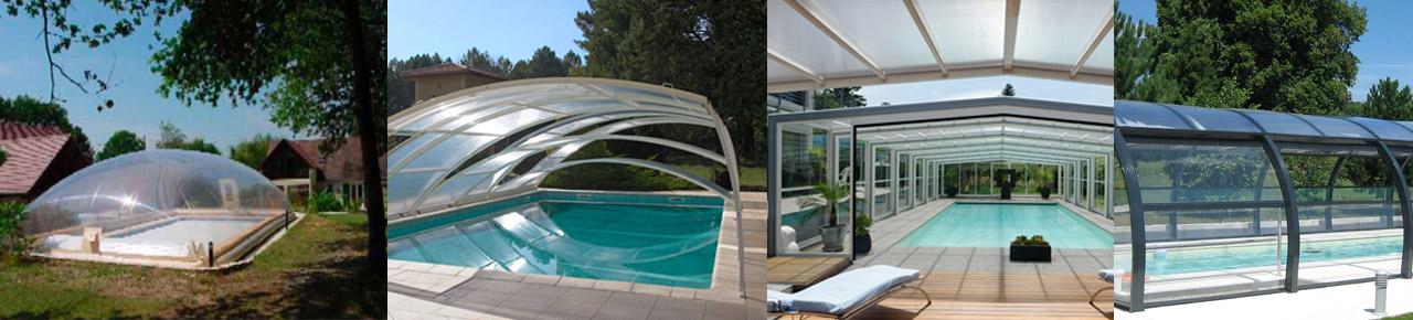 Montage photo avec les 4 types d'abris de piscine existants sur le marché