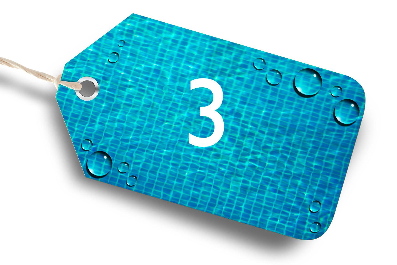 etiquette portant le chiffre 3 avec en fond une représentation d'un fond de piscine