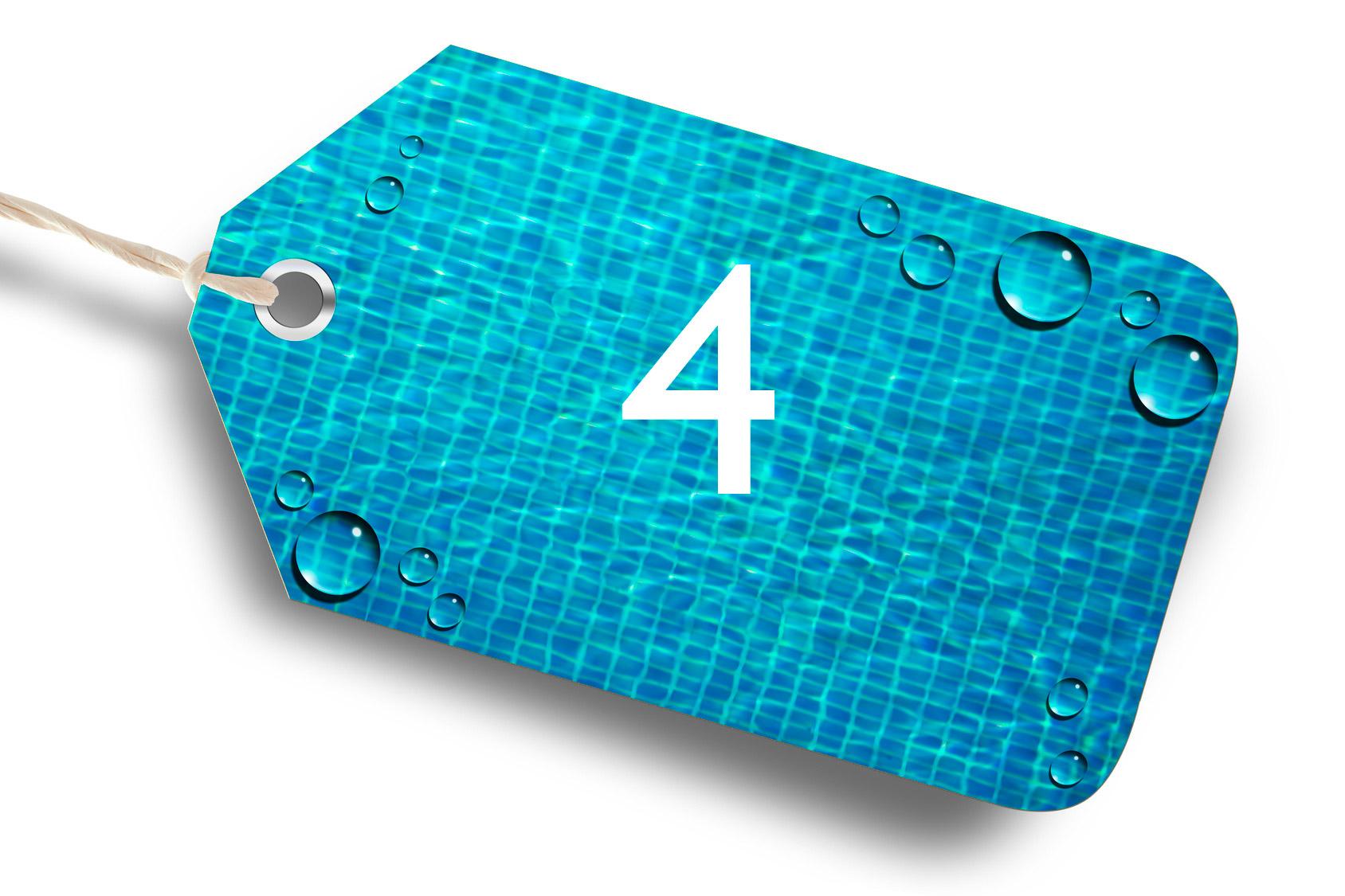 etiquette portant le chiffre 4 avec en fond une représentation d'un fond de piscine