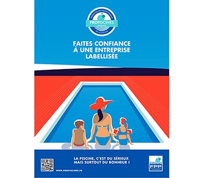 Affiche Propiscines avec le dessin d'une femme et de deux enfants assis au bord d'une piscine