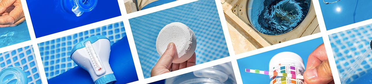mosaïque représentant l'ensemble des équipements d'une piscine