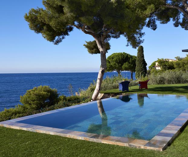 piscine dans un jardin et à l'ombre d'un arbre mais bénéficiant d'un ensoleillement optimum