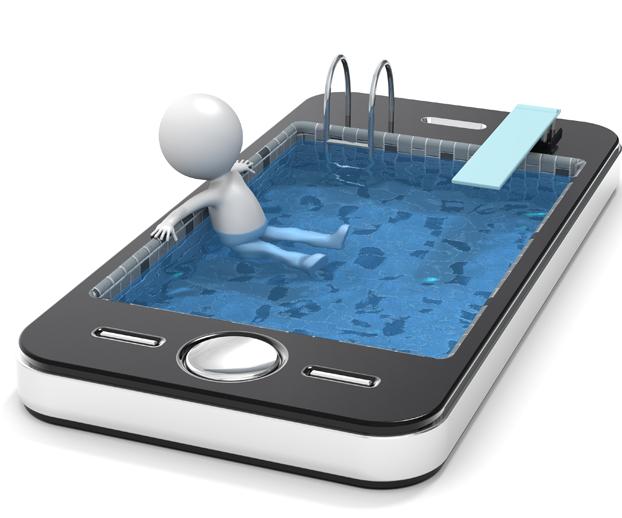 Dessin avec un petit bonhomme allongé dans une piscine qui prend la place de l'écran d'un smartphone pour illustrer la piscine automatisée et connectée