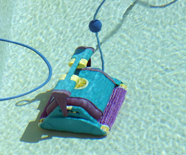 robot de piscine en service