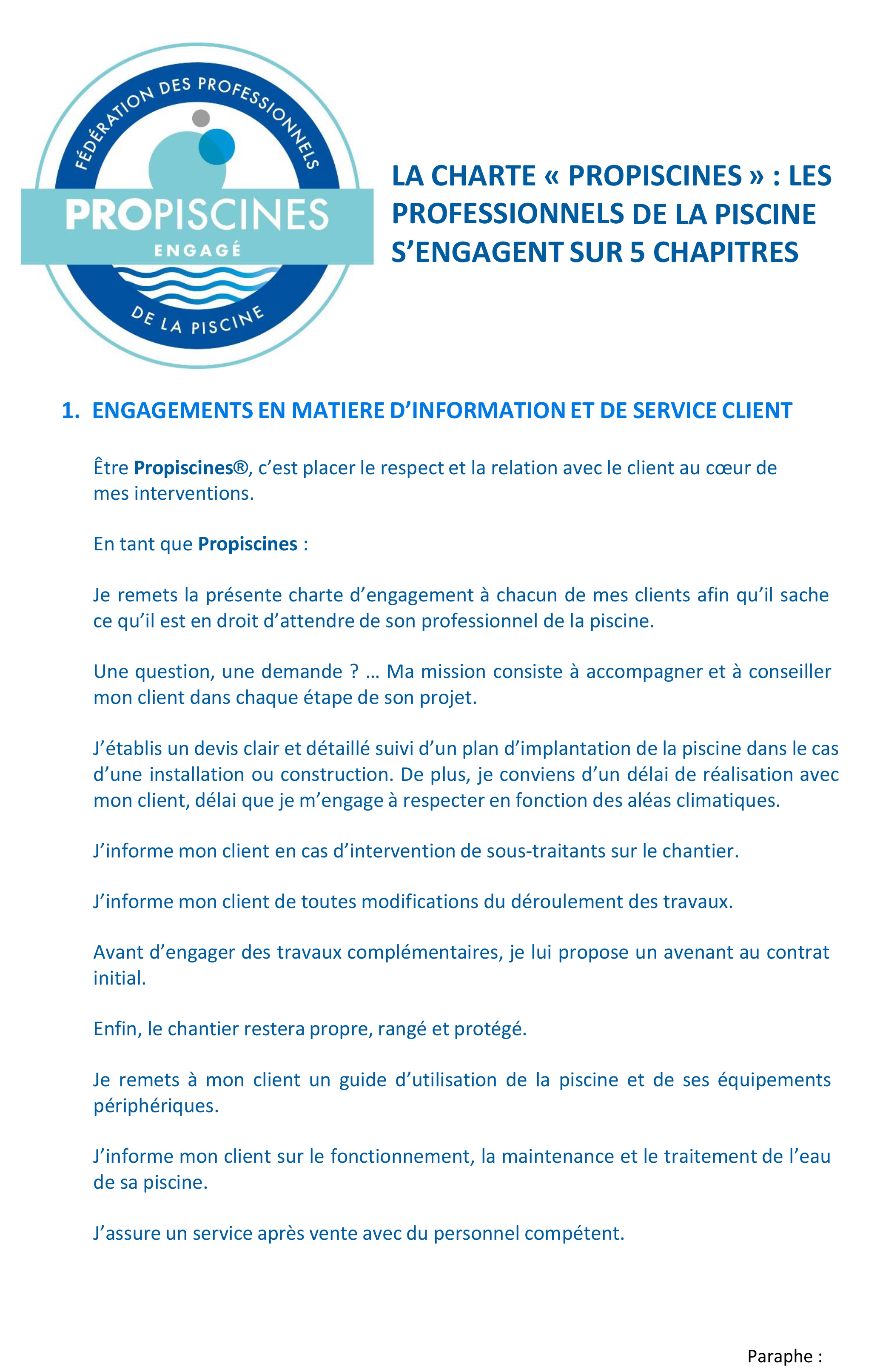 Description de la charte d'engagements Propiscines