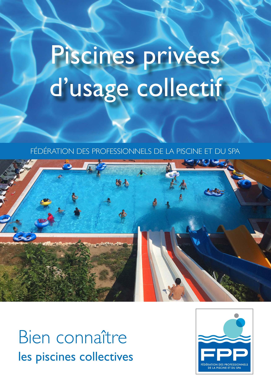 Visuel du flyer FPP sur les piscines collectives montrant un parc aquatique avec des toboggans et une piscine