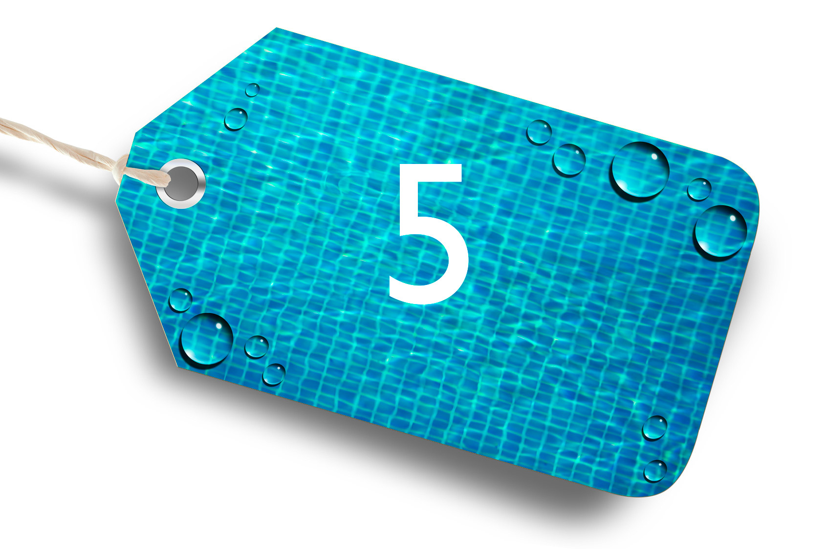 Photo d'une étiquette bleu avec le chiffre 5 par Propiscines